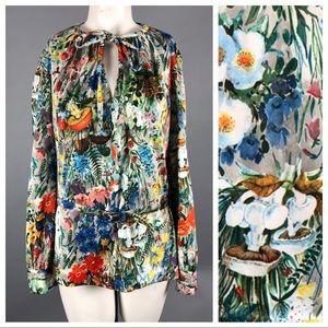 Vintage 70s colorful mushroom print blouse